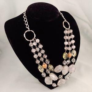 Elegant Silver Tone Semi Precious Stone Beads Wire